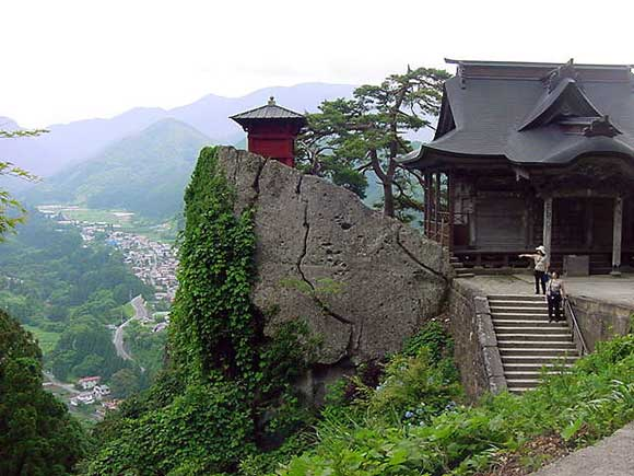 Scenic temple on a steep mountain